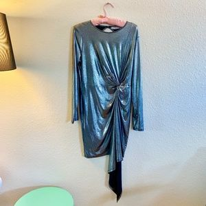 Asos Long Sleeved Silver Party Dress